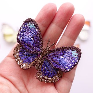 Embroidery Butterfly Brooch Clip Ring / Striped Blue Crow Butterfly (small)