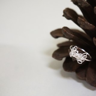 Silver Ring - lace bow (Ring / Ring) / handmade limited production