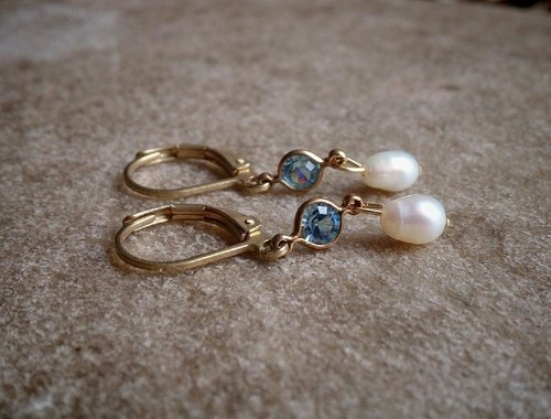 Vintage Light Blue Swarovski Pearl Drop Earrings