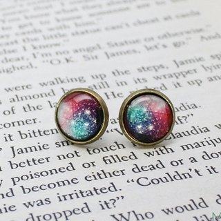 Bronze Handmade Earrings - Starry Sky Series - Small Planet