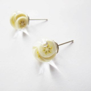 *Rosy Garden*Banana water inside glass ball stud earrings