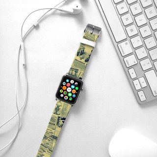 Apple Watch Series 1 , Series 2, Series 3 - Vintage Newsletter Pattern Watch Strap Band for Apple Watch / Apple Watch Sport - 38 mm / 42 mm avilable