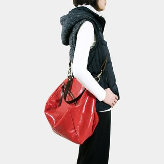 Influxx Qb Large Leather / Messenger Bag - Poppy Red