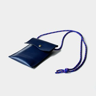 【Poseidon's ear】 leather mobile phone bag blue leather mobile phone bag hanging neck can put a leisure card, documents IPHONE6,6s, 7