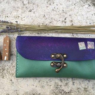 Accordion vegetable tanned leather long wallet - Lisbon Story - Turquoise color