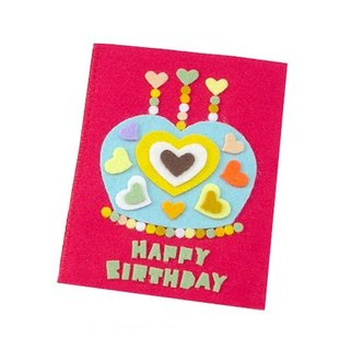 Handmade non-woven card _ Love Crown Cake Birthday Card D