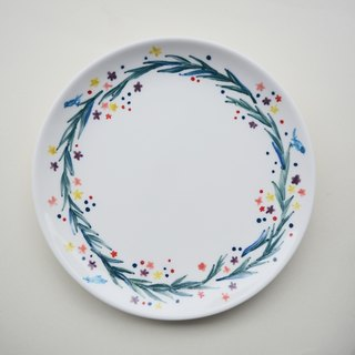 Hand-painted 7-inch cake pan with small plants wreath Bluebird