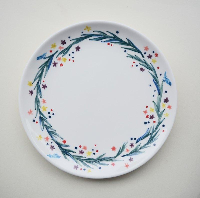 手繪7吋蛋糕盤 水草花圈與小青鳥
