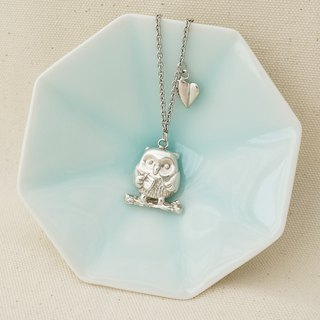 Owl with leaf 925 Sterling Silver Necklace, Handmade Necklace