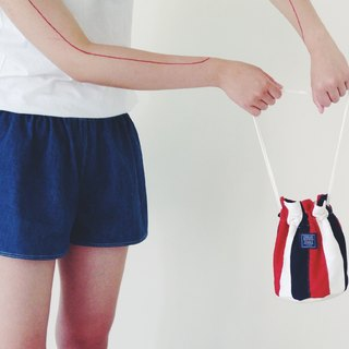 :::Bangstree:: Shoulder Bucket Bag -DarkRed+White+DarkBlue