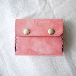 [Kaka & amp; sun] card package leather organ change handmade leather goods. Pink