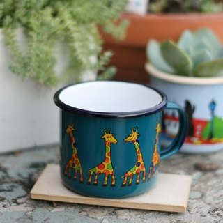 Smaltum Prague enamel cup Gator giraffe _ blue-green (350ml) <FDN000167>