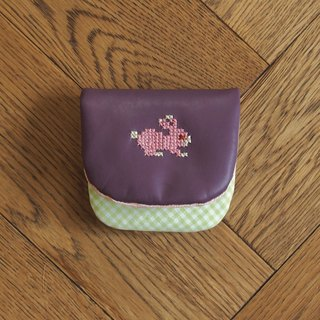 Croxxx|handmade cross stitch lambskin leather coins pouch|purple - RABBIT
