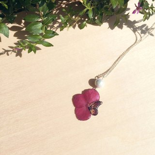 *Haku‧Neko*Butterflies real flowers hand-painted color butterfly Cotton Pearl Necklace