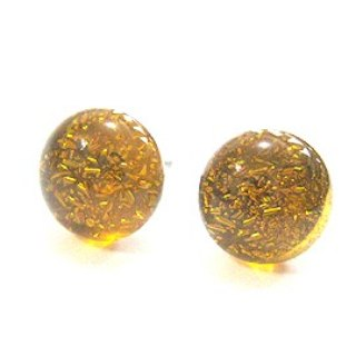Transparent golden amber glass earrings silver jewelry (the Four Seasons wild section)