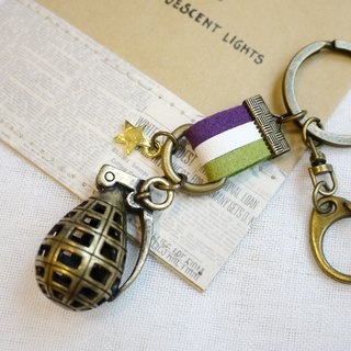Paris * Le Bonheun. Handmade happiness. Qi leather strap & key ring hollow. Grenade