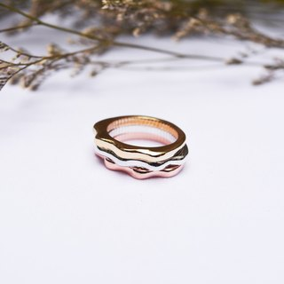 Natural series - Wave - Combination Ring -handmade silver ring -