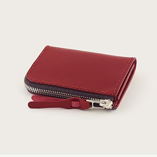 L-shaped zipper short clip / coin purse / wallet -- wine red