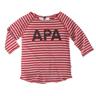 [Design] Nordic organic cotton striped shirt red (for 6M-8Y) Sweden children infant Shampoodle