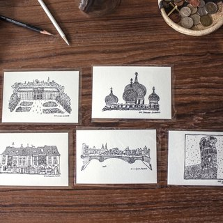 Hand-painted city postcard group (A) five
