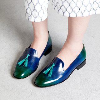H THREE tassel shoes / Loch Ness / Blue / gradient / Loafer