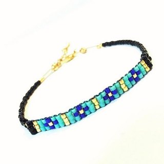 ololssim Black Ethnic Bracelet Blue Cross (0214)