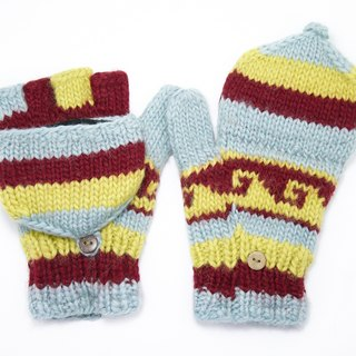 Valentine's Day gift limit a hand-woven pure wool knit gloves / detachable gloves / bristles gloves / warm gloves - fresh national totem