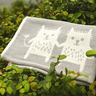 Warm blanket / baby blanket / month indemnity ceremony ► Sweden Klippan organic cotton blanket - funny cat (gray)