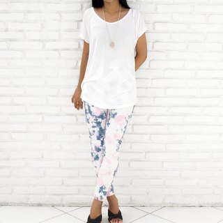 Uneven dyed stretch leggings Long Pants <navy pink>
