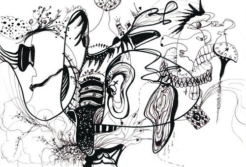 Postcard [artists series]. Brain irrigation (black and white line drawing)