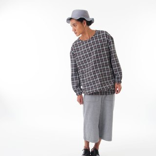 Sevenfold - Plaid wide version top Wide Plaid Shirt (dark gray)