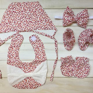 MIT hand-made red floral newborn baby girl gift full moon births attached package