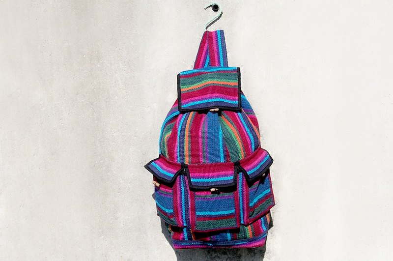 Hand-woven beam port Backpack - blue-violet hue