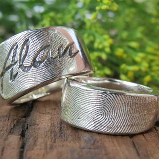 ReShi / fingerprint deep name ring / 925 sterling silver / fingerprint silver / custom handmade / Valentine's family gifts