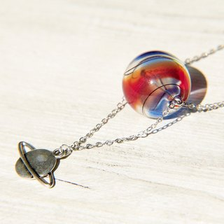 / Universe Planet / French striped mouth blown glass necklace short long chain - went to outer space travel!