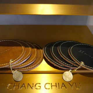 [YuYu] supermodel Zhang Jia Yu own brand - vegetable-tanned leather coasters group