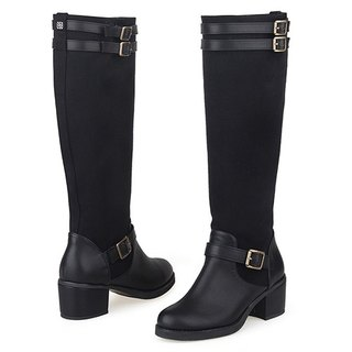 【Korean brand】SPUR Contrast Belted Boots 18094 BLACK