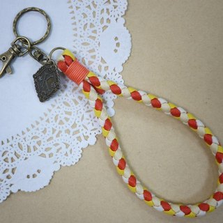 ~ M + Bear ~ vintage braided wire braided wax keychain key ring (four shares edge: orange line)