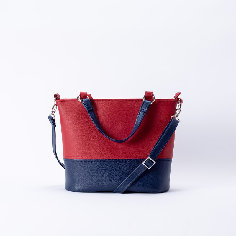 Classic color matching tote bag portable shoulder dual-use red X Navy