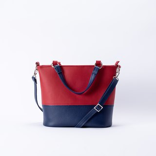 Classic Matching Tote Bag Portable Shoulder Dual Red X Navy