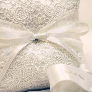 Classic handmade lace ring pillow