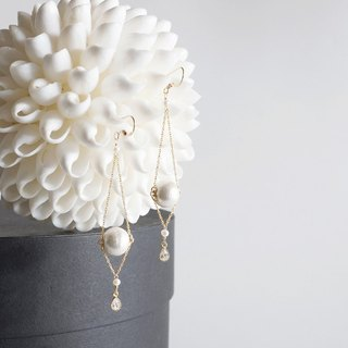 【14 KGF】 14 KGF Chain Dangle Earrings, AAA Fresh Water Pearl, CZ, Cotton Pearl
