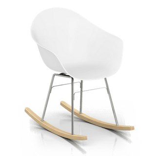 TOOU ArmShell oak rocking chair with a foot (white)