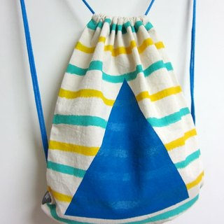 Striped summer - after hand-painted beam port Backpack (blue strap paragraph)