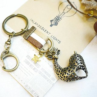 Paris * Le Bonheun. Happy hand made. Leather hollow strap & key ring. Sika deer