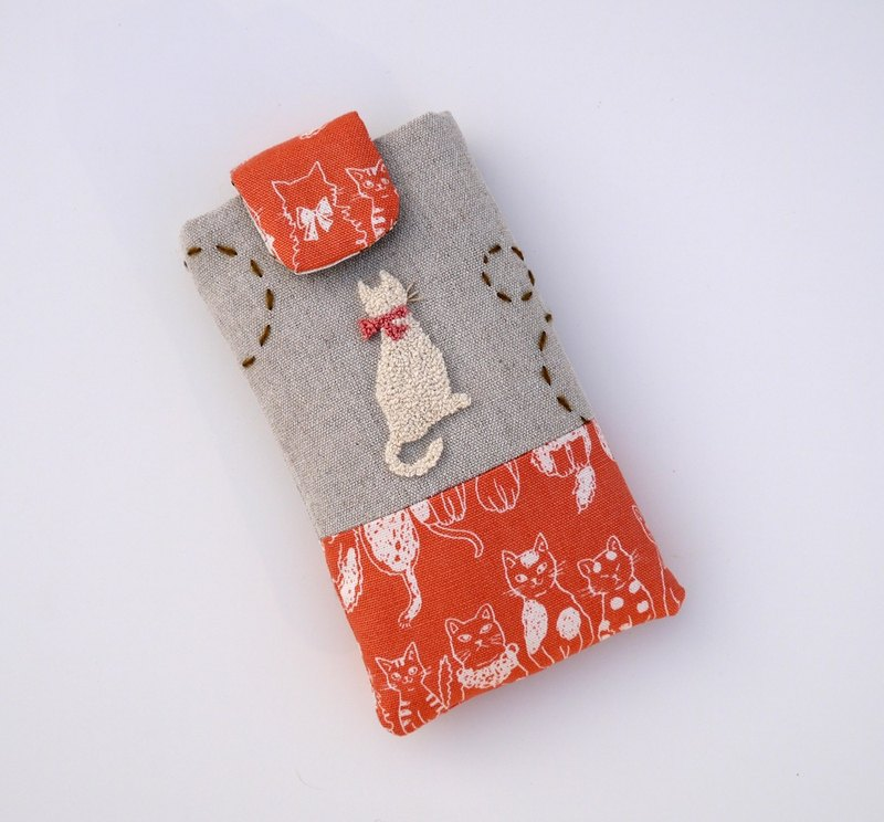 White embroidered cell phone pocket (M)