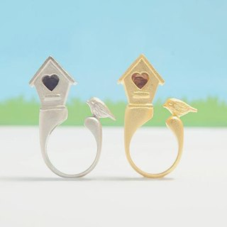 Birdhouse Ring, Birdhouse with little bird ring, Birdhouse with a heart-shaped ring (*now available only in silver)