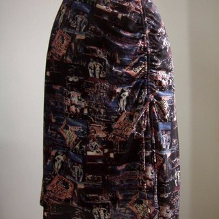 American pattern low-waist skirt (black and blue)