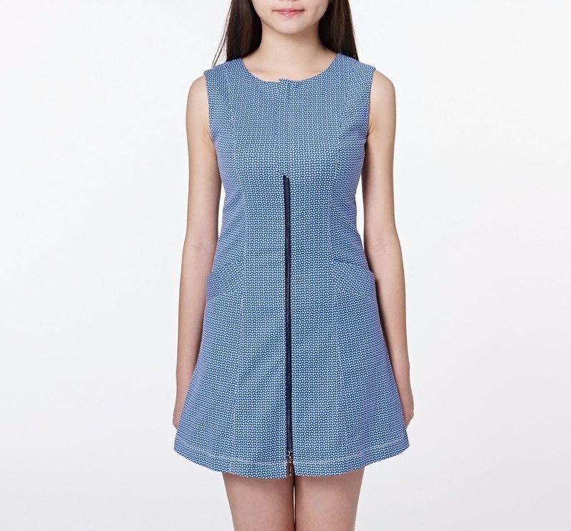 【Off-season sale】Special texture elastic design dress blue