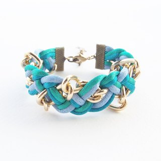 Blue and green mint braided with gold chain